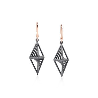 【String Art】 3D printed geometric prism pyramid and cylinder earrings