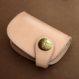 Genuine leather saddle leather half wallet (Button type)