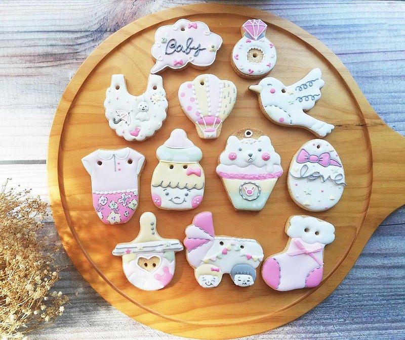 粉紅女孩  女寶寶收涎餅乾 12片 糖霜餅乾 手工餅乾 生日禮物