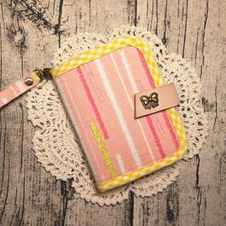 Chomii. Short clip wallet pink stripes