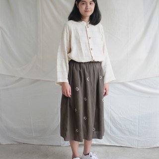 Ebony brown dot cotton skirt / with lining and pockets