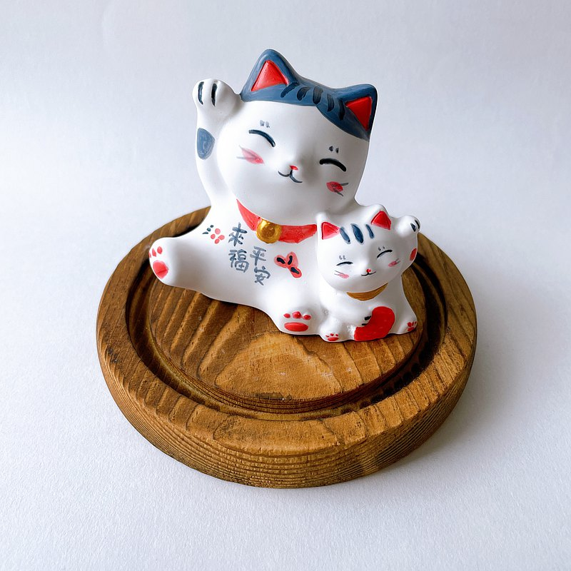 Ping An Twins Lucky Cat Diffuser Stone