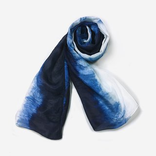 Blue stained scarf gradient style (micro-defective goods) 5 fold
