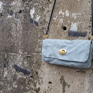 Hand-stitched retro leather cowhide shark blue long tannin purse - free production of exclusive brand name