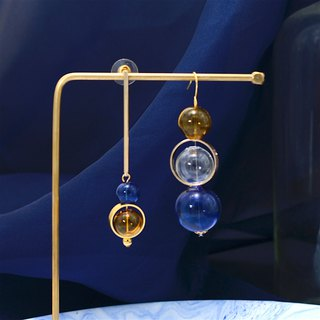 Little nb blue tinted glass ball asymmetric earrings