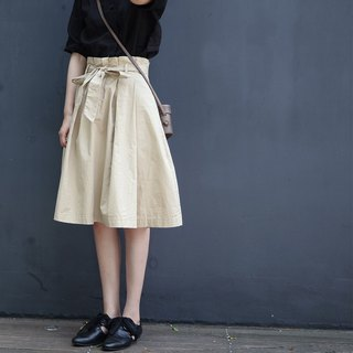 Light khaki pleated skirt | skirt | cotton | independent brand |Sora-159