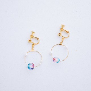 Dawn - peach blue glass beads crystal pearl earrings (Christmas gift)