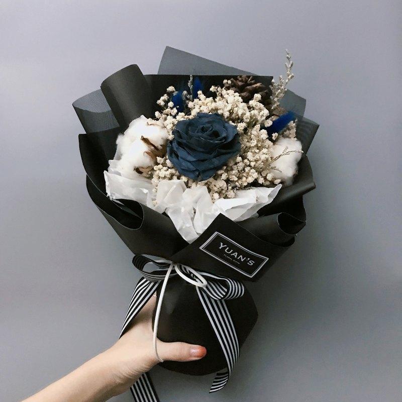 Dark boyfriend is gray blue immortal rose bouquet dry bouquet ...