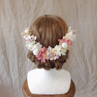 Antique pink × baby pink hydrangea head dress