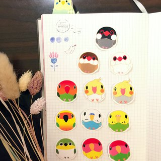 Birdbird Paradise -Q version of bird treasure transparent sticker birds group of 12 transparent stickers
