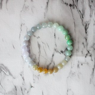 Journal-Dadi Rainbow Pure Natural Color Jade (Burma Jade) Boutique Beads Bracelet Exclusive Item