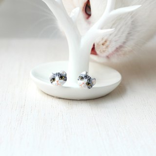 American curl cat earrings, Cat stud earrings, tabby cat, cat lover gifts