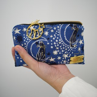 Zipper Pouch in Cats and Stars on Blue