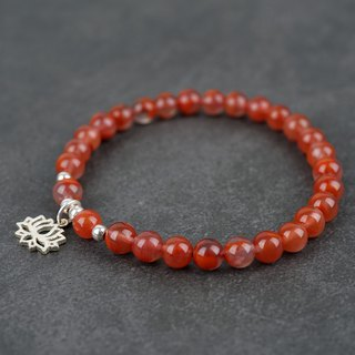 Ice floating South Red Bracelet Original design s925 Anemone Lotus fall Liangshan agate Beads Simple