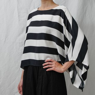 French elegance. Black and white striped wide sleeve top. Spring and Summer | Ysanne