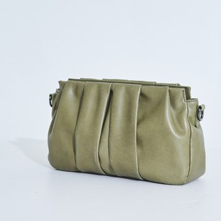 Laminated skin folding hand side back small bag green