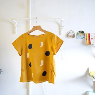 Yellow sunglasses puppy, biscuit / moon wide sleeve waist wrinkled hand-printed top