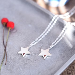 2 co set) garnet star pair necklace silver 925