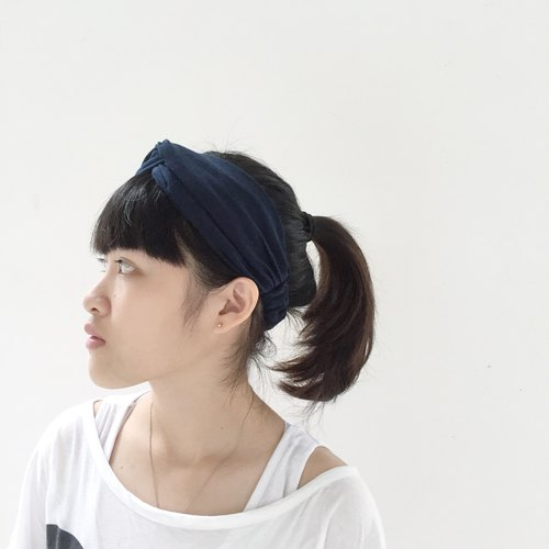 Midnight Blue / Wide Elastic Hairband