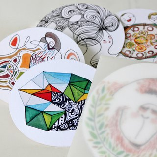 POST CARD - Series of being positive - hand drawn original in round shape