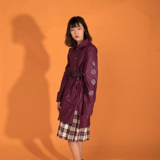 Spring and summer purple cotton sleeve long-sleeved long shirt
