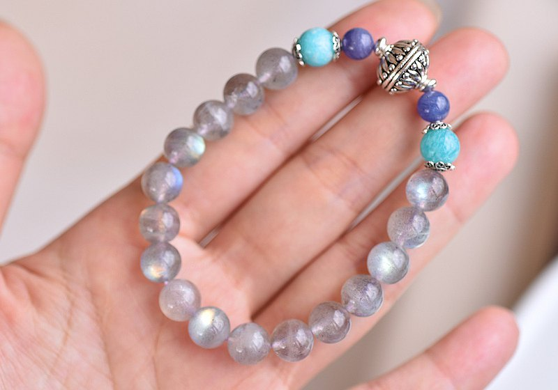 Light Grey Labradorite + Tanzanite + Tianhe Stone Sterling Silver Bracelet