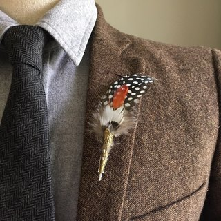 Rustic Orange Feather Boutonniere/Lapel Pin