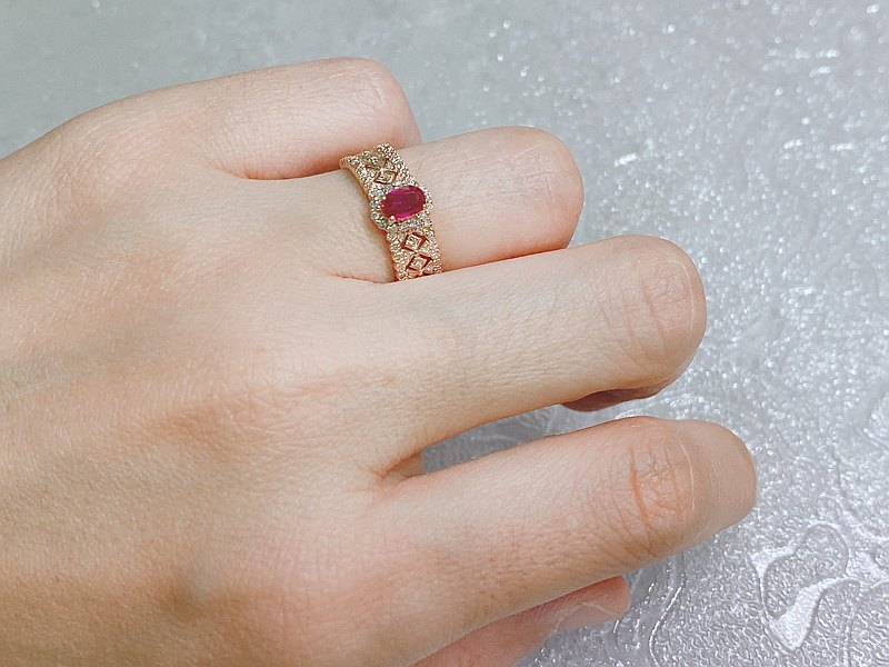 0.55 carat unburnt ruby ring with diamonds and 18k yellow gold bare stone with certificate