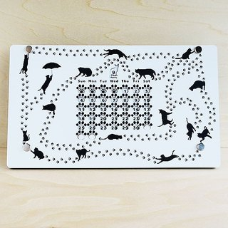 Cat and paws footprints perpetual calendar