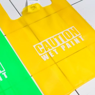 Plastic Bag / Caution Wet Paint / Yellow