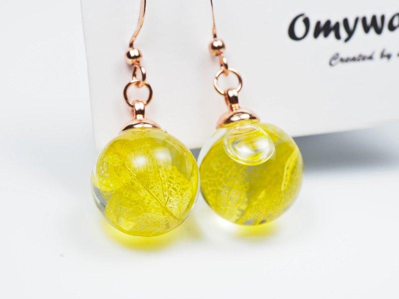 愛家作-OMYWAY日本綠色繡球花浮游花玻璃球玫瑰金色耳環耳夾1.4cm