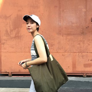 Oversized tag tote bag Olive Green waterproof