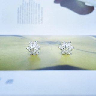 925 sterling silver domineering pretty [double-flowered longevity flower big ear]