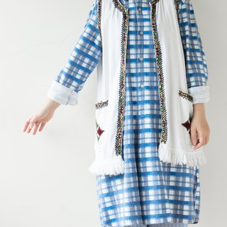 Basic two-color blue and white plaid French long version pullover plaid shirt