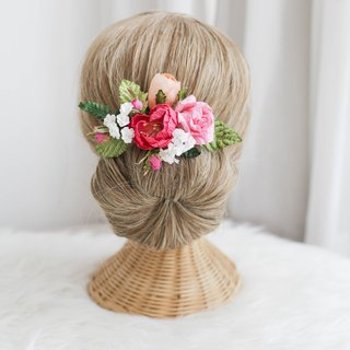 Pink Peach - Paper Flower Hair Comb
