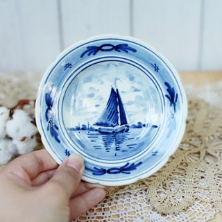 [Good day fetish] Dutch vintage hand-painted ceramic classic sailing snack plate. Wall hanging