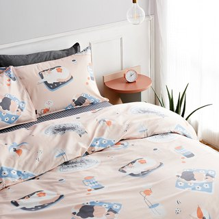 Lemon 喵 single double bed / bed bag hand-painted cat 40 cotton bedding pillowcase quilt cover
