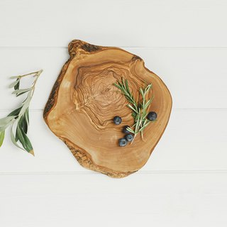 British Naturally Med boutique kitchen olive wood bark large disc / wooden round plate / decoration plate