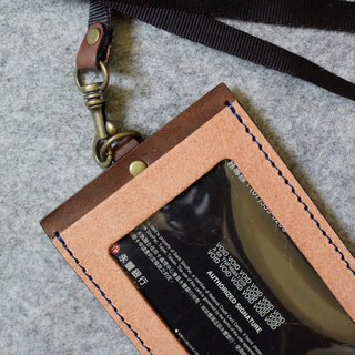 YOURS Straight Document Holder (with Necklace) Cork Leather + Dark Wood Leather