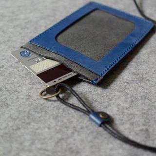 YOURS three-pocket lightweight document folder / ticket folder blue leather + gray suede (with adjustable length neck strap)