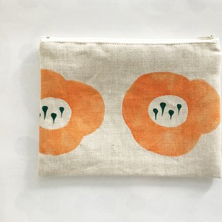 moshimoshi | linen zipper cosmetic bag - pumpkin flower