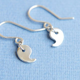 Magatama Japanese Lucky Charm Earrings, Paisley Silver Earrings, Amulet Jewelry