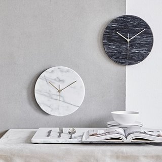 Natural marble clock [simple white] European and American style home fashion art taste decorative wall clock