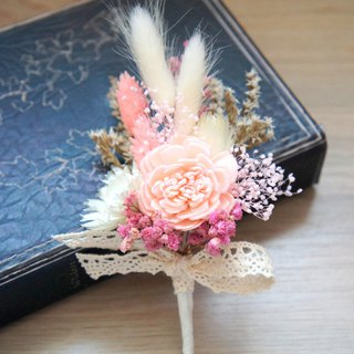 Handmade dried flower / not withered wedding wedding decoration series ~ Star Princess sweet wind groom boutonniere / photo props / pink wedding / hand tied bouquet ~