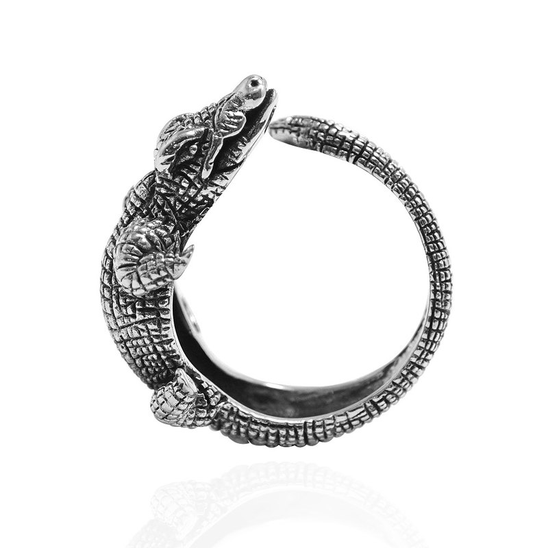 Crocodile animal figure carved sterling silver ring 925 silver