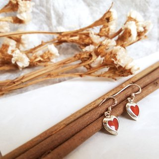 Love-type silver red coral earrings