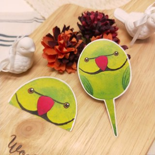 Rolia's hand-made green moon parrot waterproof stickers