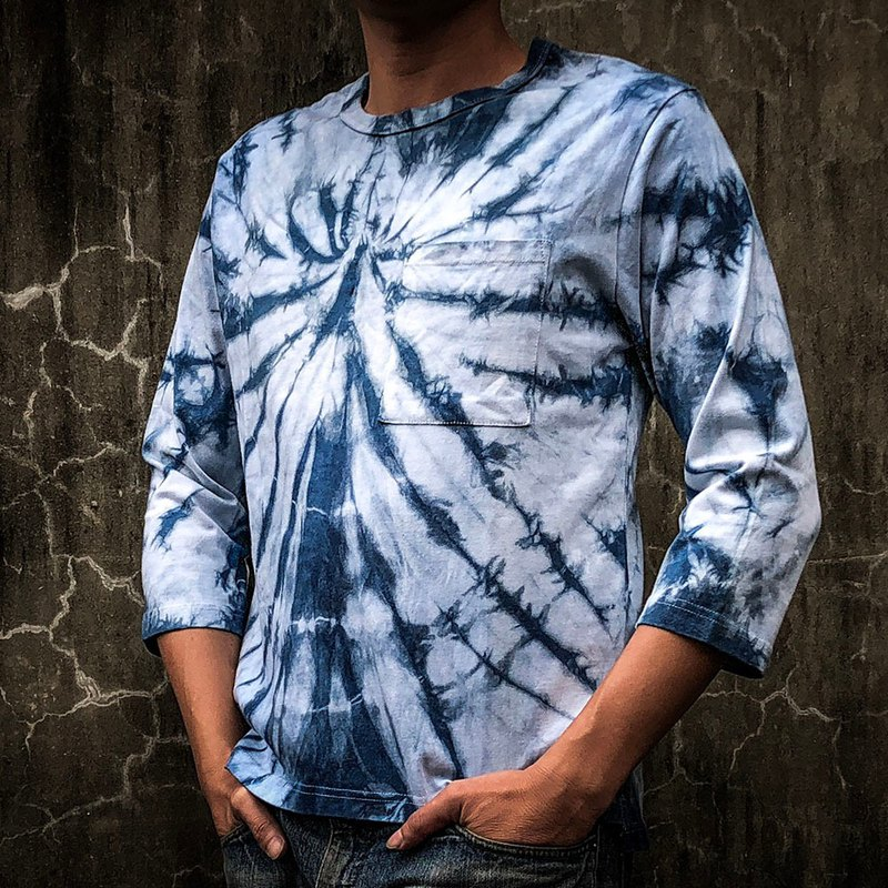 Spider fire hand-dyed cotton seven-point sleeve T shirt