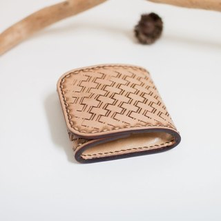 Leather Handmade Leather Quartet Coin Purse (Primary + Coffee)