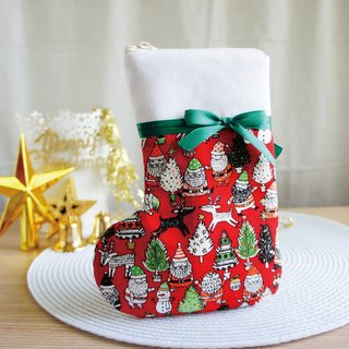 Lovely [Japanese cloth] Santa Claus Christmas stocking mobile phone bag, red hot stamping, 5.5 吋 available
